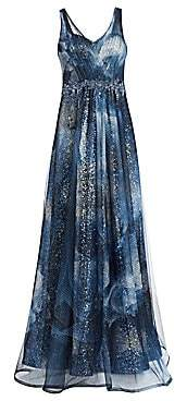 Rene Ruiz Collection Women's Sleeveless Print Point D'Sprit V-Neck Gown