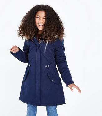New Look Teens Navy Faux Fur Trim Hooded Parka