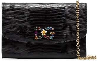 Dolce & Gabbana black crystal embellished leather wallet bag