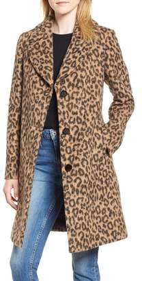 Kate Spade Leopard Print Wool Blend Coat
