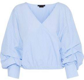 Alice + Olivia Wrap-Effect Striped Cotton-Poplin Blouse