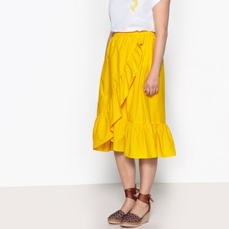 CASTALUNA PLUS SIZE Flared Ruffled Midi Skirt