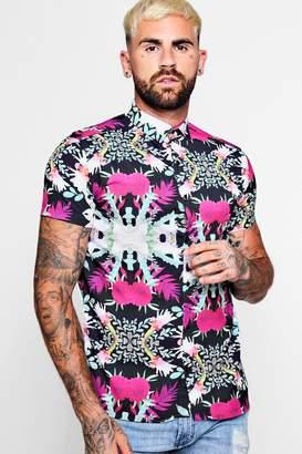 boohoo Short Sleeve Floral Sateen Shirt