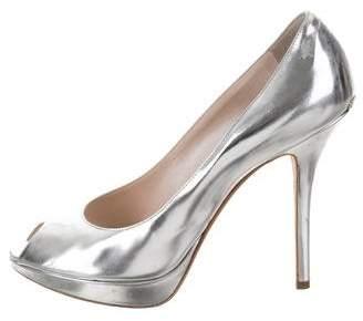 Christian Dior Metallic Peep-Toe Pumps