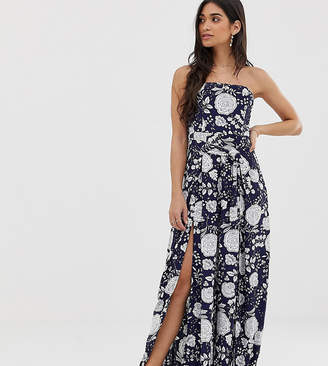 Sisters Of The Tribe split leg strapless jumpsuit in floral