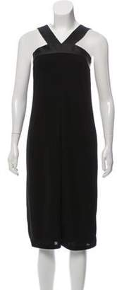 DKNY Leather-Accented Sleeveless Midi Dress Black Leather-Accented Sleeveless Midi Dress