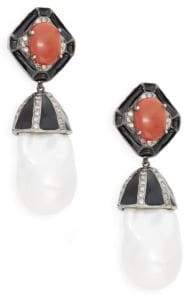 Sterling Silver 20mm Baroque Freshwater Pearl, Red Coral & Diamond Cap Drop Earrings