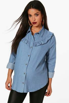 boohoo Maternity Millie Ruffle Detail Denim Shirt