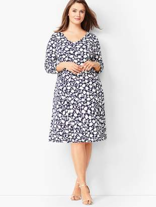 b63acb2b8a4cc Talbots Plus Size Knit Jersey Fit   Flare Dress - Floral
