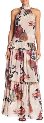 Trina Turk Kahlo Floral Print Mock Neck Maxi Dress