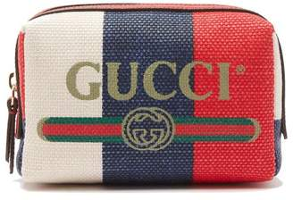 Gucci Logo Print Canvas Washbag - Womens - Red Multi