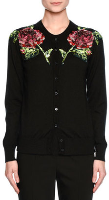 Dolce & Gabbana Sequined-Rose Crewneck Cardigan, Black/Pink $2,445 thestylecure.com