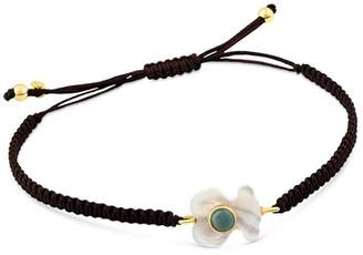 Tous 18K Yellow Gold Super Power Amazonite & Mother-Of-Pearl Bear Cord Bracelet