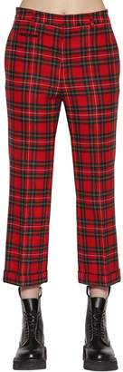 R 13 Straight Wool Plaid Pants