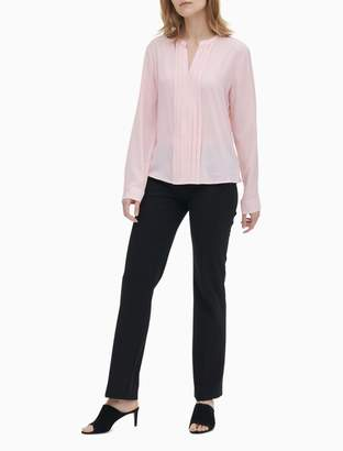 Calvin Klein Solid Pleat Front V-Neck Long Sleeve Blouse