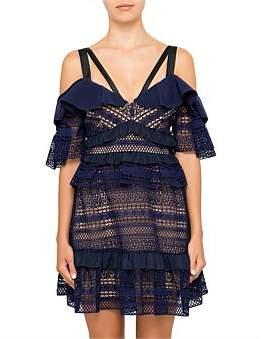 Self-Portrait Striped Panelled Lace Dress