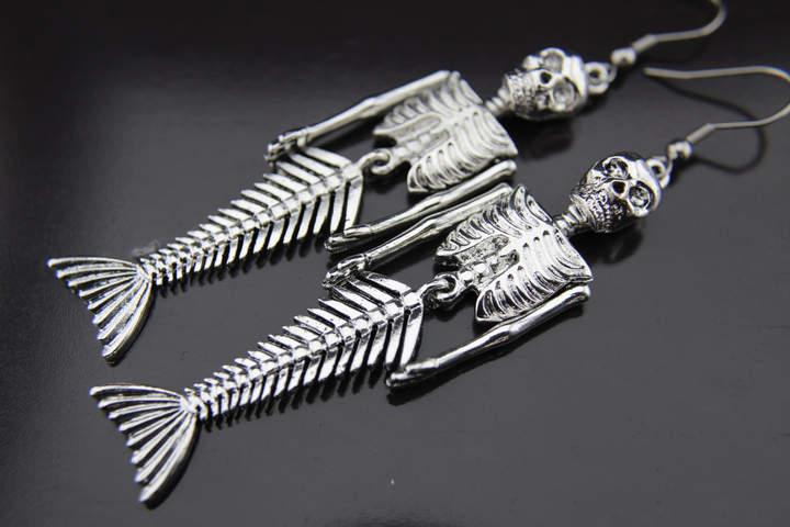 Etsy Mermaid Earrings Silver Skull Mermaid Skeleton Charm Dangle Earrings Skull Mermaid Earrings Hallowe
