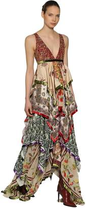 DSQUARED2 Embellished Printed Silk Chiffon Gown
