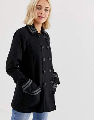 Brave Soul double breasted coat with collar