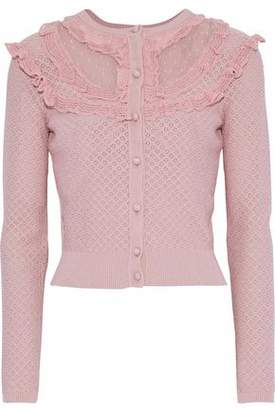 RED Valentino Point D'esprit-Paneled Pointelle-Knit Cardigan
