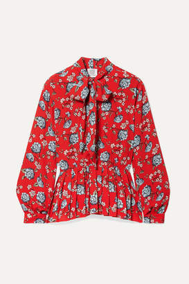 Vetements Pussy-bow Pleated Floral-print Crepe Blouse - Red