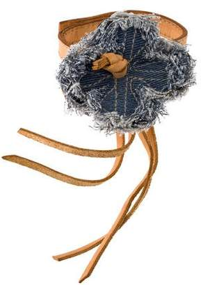 Miu Miu Leather & Denim Flower Bracelet