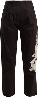 Dragon-embroidery cotton cropped trousers