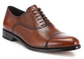 Salvatore Ferragamo Guru Cap Toe Burnished Leather Oxfords