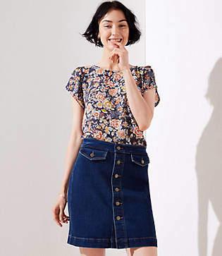 LOFT Petite Button Denim Skirt