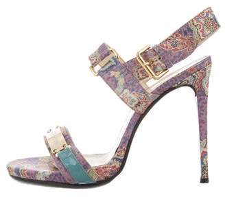 John Galliano Satin Paisley Sandals