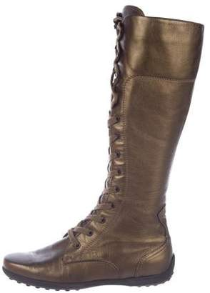 Tod's Metallic Leather Mid-Calf Boots w/ Tags