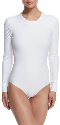 Cover Long-Sleeve One-Piece Swimsuit, Solid or Mesh $190 thestylecure.com
