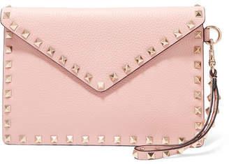 Valentino Garavani The Rockstud Medium Textured-leather Pouch - Pink