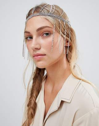 Asos Design DESIGN statement headchain with crystal fringing in white