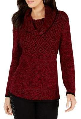 Style&Co. Style & Co. Jacquard Cowl-Neck Sweater