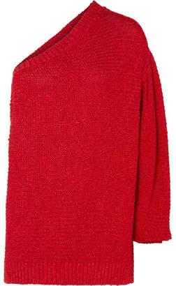 Stella McCartney Oversized One-shoulder Crochet-knit Sweater - Red