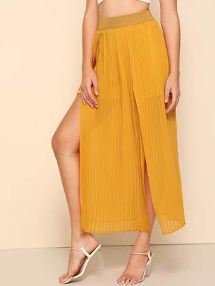 Shein Pleated Slit Hem Skirt