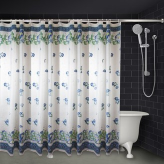 "Rod Desyne Blue Pastel Floral Shower Curtain - 71"" x 71"""