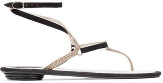 Crystal-embellished Suede Sandals - Black