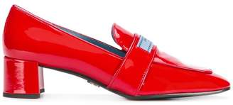 Prada logo patch block heel loafers
