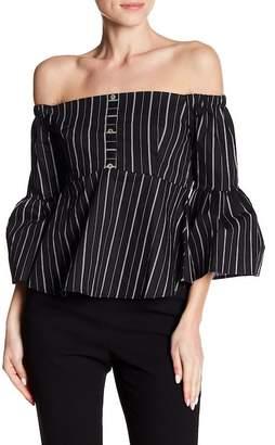 Dee Elly Off-the-Shoulder Stripe Blouse