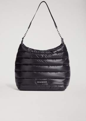 Emporio Armani Quilted Padded Hobo Bag With Shoulder Strap And Logo