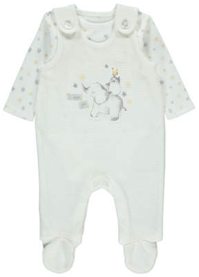 George Baby Animal Print Velour Dungarees and Bodysuit Outfit