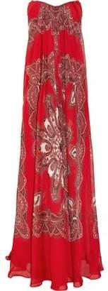 Alexander McQueen Strapless Paisley-Print Silk-Chiffon Gown