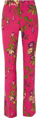Gucci Floral-print Wool-blend Flared Pants - Pink