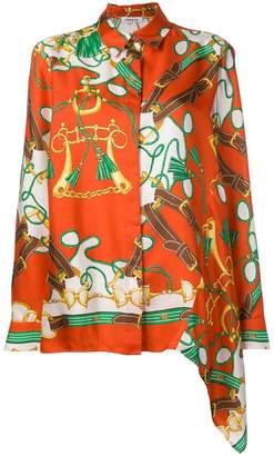 P.A.R.O.S.H. chain print long-sleeve blouse