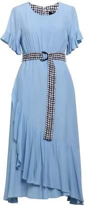 Emily Lovelock Dress With Ruffle Detail - Blue