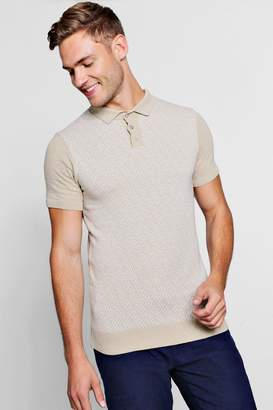 boohoo Knit Interest Short Sleeve Polo