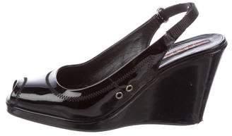 PeepToe Prada Sport Slingback Peep-Toe Wedges