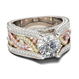 Panache Exports 10k Gold Tri Color Round Cut Cubic Zirconia Engagement Ring 2ct
